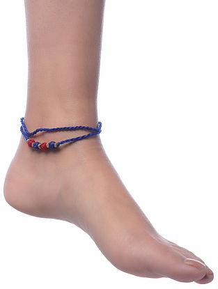Blue-Red Gold Tone Dhokra Anklet
