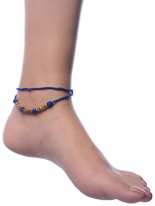 Blue Gold Tone Dhokra Anklet