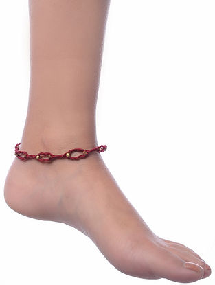 Maroon Gold Tone Dhokra Anklet