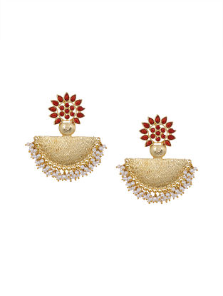 Red Gold Tone Earrings with Pearls