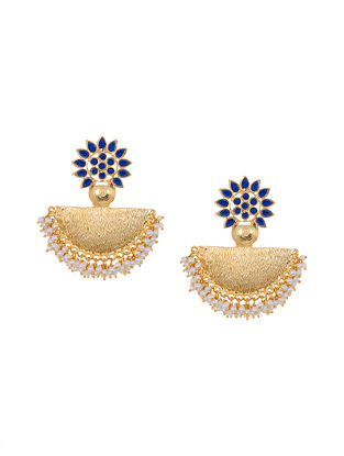 Red Gold Tone Kundan Chandbali Earrings with Pearls