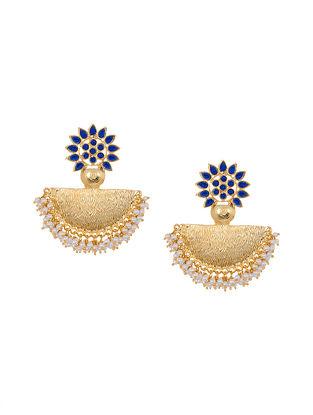 Blue Gold Tone Kundan Chandbali Earrings