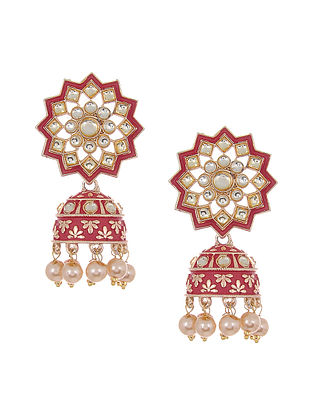 Red Gold Tone Kundan Jhumki Earrings with Pearls
