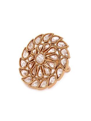 Gold Tone Kundan Adjustable Ring