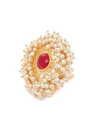 Pink Gold Tone Adjustable Ring with Pearls
