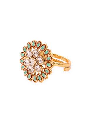Mint Blue Gold Tone Kundan Adjustable Ring
