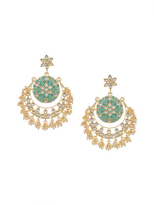 Mint Blue Gold Tone Kundan Chandbali Earrings