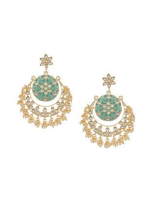 Mint Blue Gold Tone Kundan Chandbali Earrings