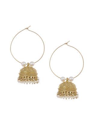 Gold Tone Kundan Jhumki Earrings with Pearls