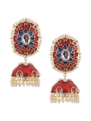 Red Blue Gold Tone Kundan Jhumki Earrings with Pearls