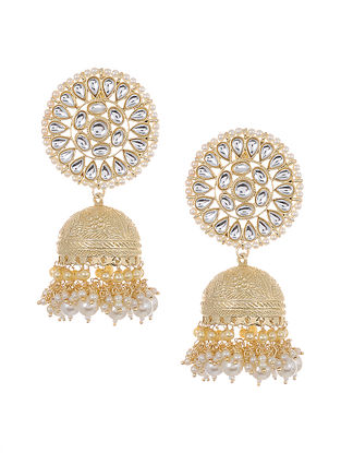 Gold Tone Kundan Jhumki Earrings with Pearls