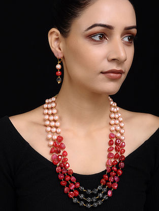 Red Grey Pearl Beaded Necklace with Earrings (Set of 2)
