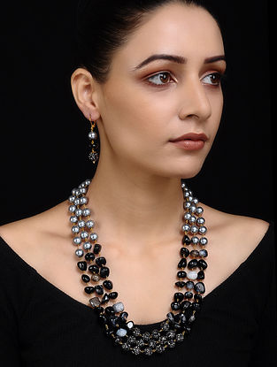 Black Grey Pearl Beaded Necklace with Earrings (Set of 2)
