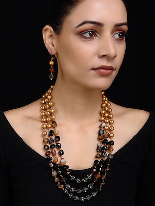 Brown Black Gold Tone Pearl Beaded Necklace with Earrings (Set of 2)