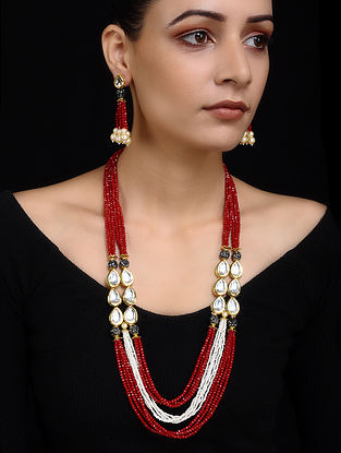 Red Gold Tone Pearl Beaded Necklace with Earrings (Set of 2)