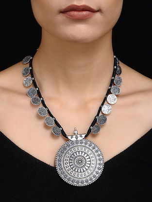 Black Silver Tone Tribal Necklace
