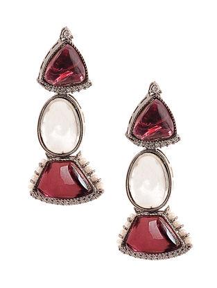 Pink Silver Tone Kundan Earrings with Pearls