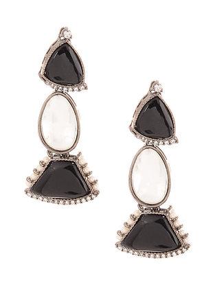 Black Silver Tone Kundan Earrings with Pearls