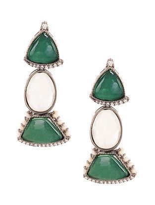 Green Silver Tone Kundan Earrings with Pearls