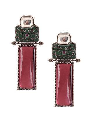 Pink Green Silver Tone Kundan and Meenakari Earrings
