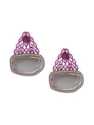 Grey Purple Silver Tone Earrings