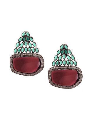Red Green Silver Tone Earrings