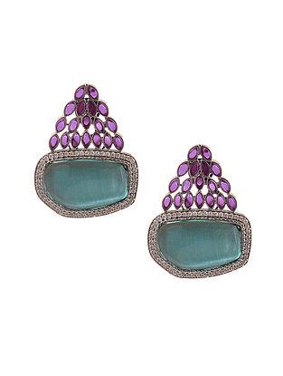 Blue Purple Silver Tone Earrings