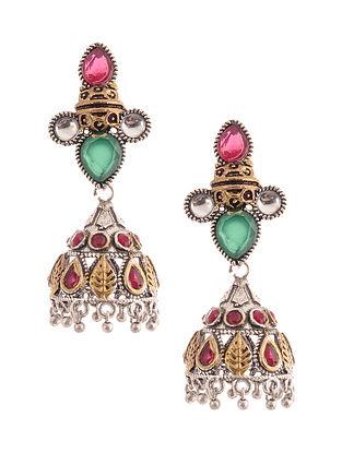 Red Green Dual Tone Jhumki Earrings