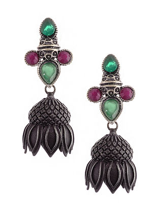 Red Green Silver Tone Jhumki Earrings