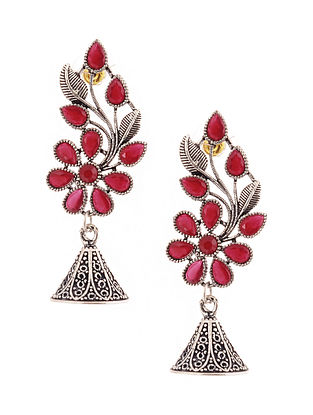 Red Silver Tone Jhumki Earrings