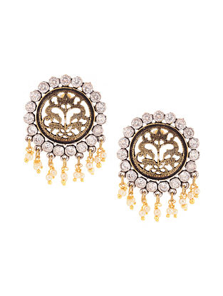 Dual Tone Earrings with Pearls
