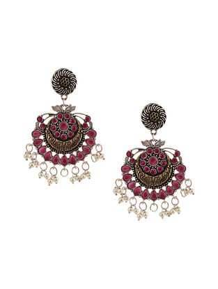 Red Dual Tone Earrings with Pearls
