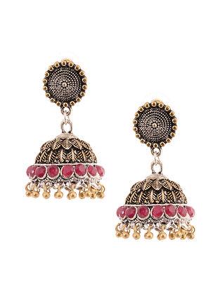 Red Dual Tone Jhumki Earrings