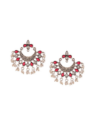 Red Silver Tone Earrings with Pearls