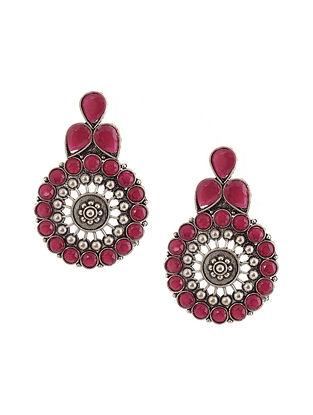Red Silver Tone Earrings