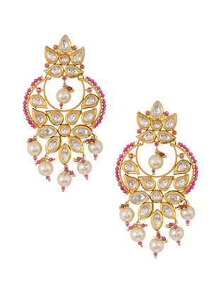 Pink Gold Tone Jadau Earrings with Pearls