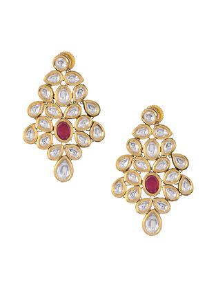 Pink Gold Tone Jadau Earrings