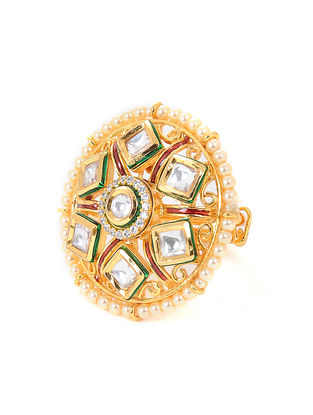 Gold Tone Jadau Adjustable Ring with Pearls