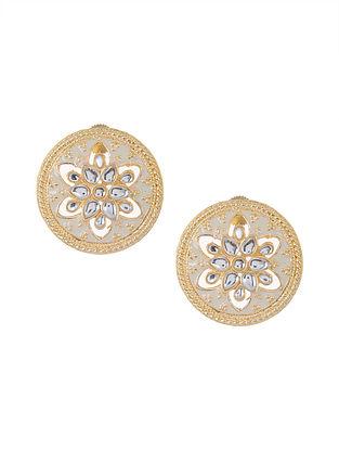 White Gold Tone Meenakari and Jadau Earrings