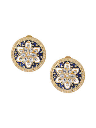 Blue Gold Tone Meenakari and Jadau Earrings