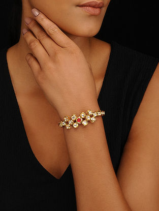 Red Gold Tone Kundan Adjustable Bracelet