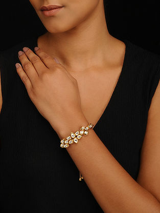 Gold Tone Kundan Adjustable Bracelet