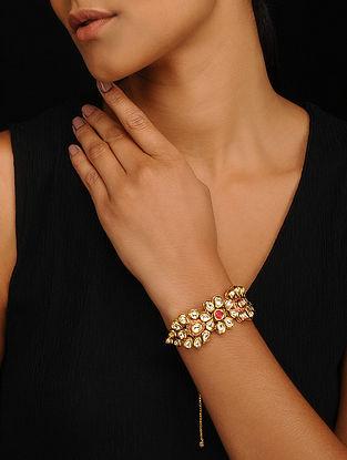 Red Gold Tone Kundan Adjustable Bracelet