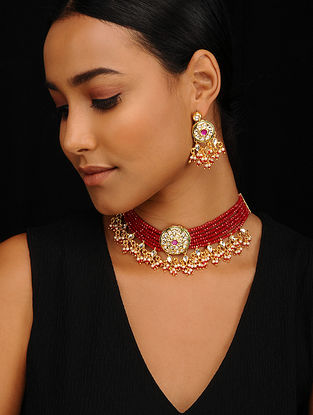 Red Gold Tone Jadau Necklace with Earrings (Set of 2)