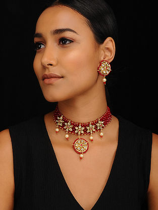 Red Gold Tone Kundan Necklace with Earrings (Set of 2)