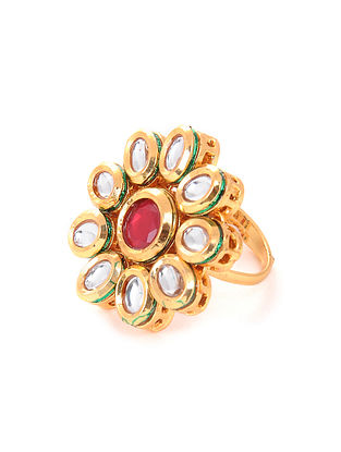 Pink Gold Tone Kundan Adjustable Ring