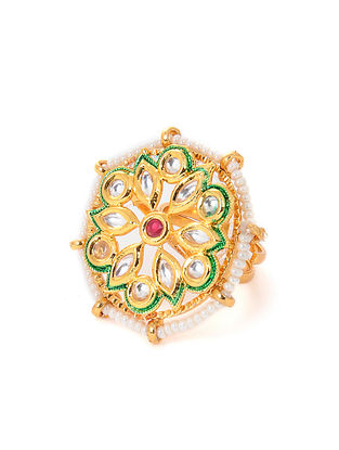 Pink Gold Tone Kundan Adjustable Ring with Pearls