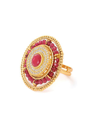 Pink Gold Tone Adjustable Ring