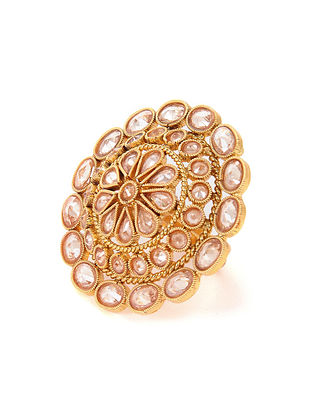 Gold Tone Polki Adjustable Ring