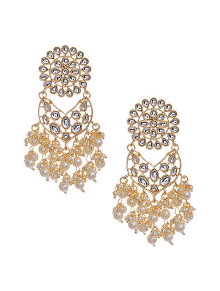 Gold Tone Handcrafted Earrings with Pearls